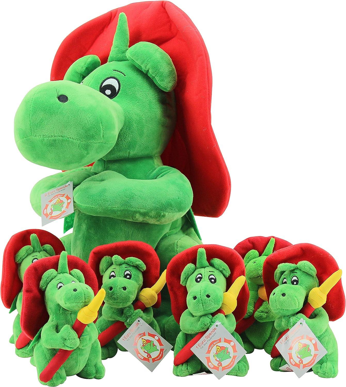 Sweety Toys 11285 Set=6 Stück Drache grauU Maskottchen Plüsch ca. 17 cm + 1 Stück Drache grauU ca.45 cm