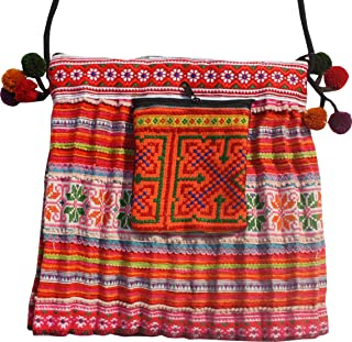 RaanPahMuang Purse Made From Thai Hmong Hill Tribe Childrens Skirt