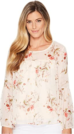 B Collection by Bobeau Rayes Flute Sleeve Blouse