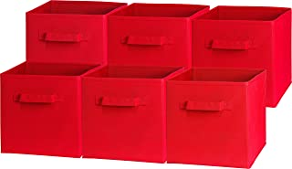 6 Pack   SimpleHouseware Foldable Cube Storage Bin, Red