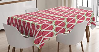 Ambesonne Kitchen Decor Tablecloth, Watermelons Retro Style Pattern Slice Fresh Tropical Fruit Seeds Watercolor Design, Dining Room Kitchen Rectangular Table Cover, 60 X 90 inches, Pink White Green