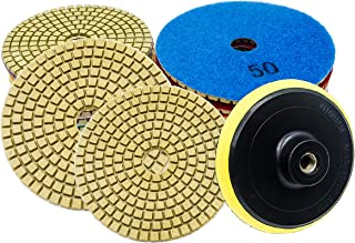 Diamond Polishing Pads, 4 inch Wet/Dry 9 Piece Set Polishing Kit with Backer Pad for Granite Marble Concrete Stone