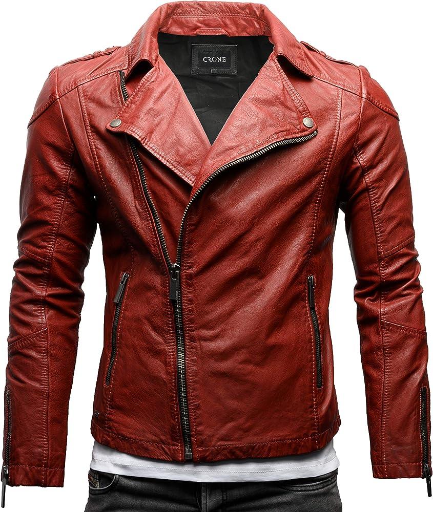 crone theo ecoleder basic biker giacca in pelle bovina morbida heavy washed red