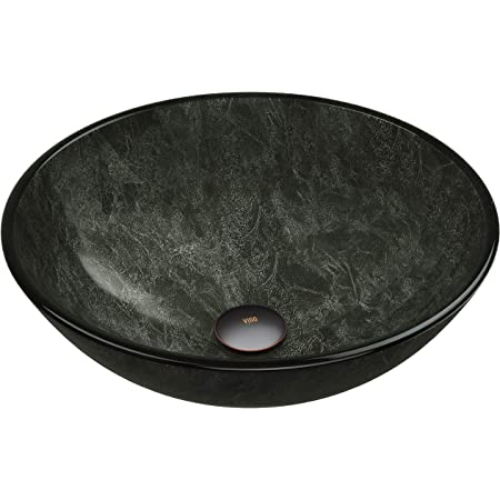 Vigo Vg07051 16 5 L W 6 0 H Gray Handmade Countertop Glass Round Vessel Bathroom Sink In Onyx Finish Amazon Com