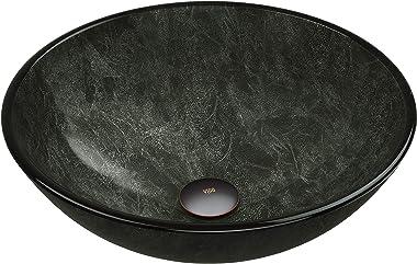 "VIGO VG07051 16.5"" -16.5"" W -6.0"" H Gray Handmade Countertop Glass Round Vessel Bathroom Sink in Gray Onyx Finish"