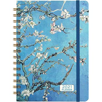 "2021 Planner - Weekly & Monthly Planner 2021, from Jan 2021 - Dec 2021 with Tabs, 6.37"" x 8.46"", Strong Twin- Wire Binding, Hardcover, Inner Pocket, Elastic Closure"
