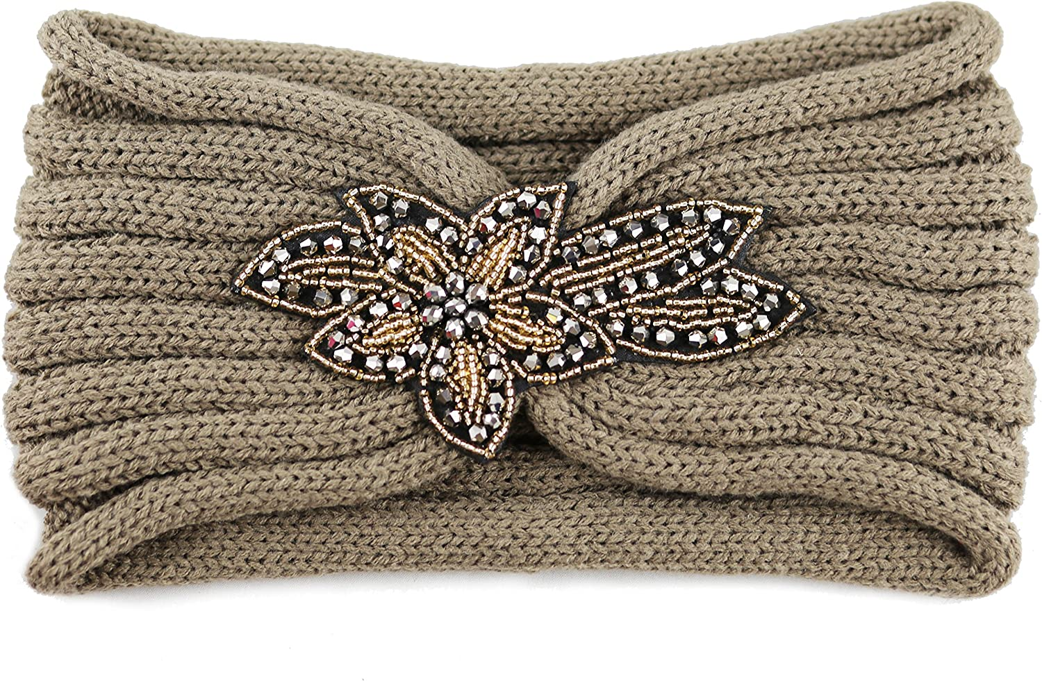 The Hat Depot 700HB-80 Sequin Knit Headband with Flower Decoration