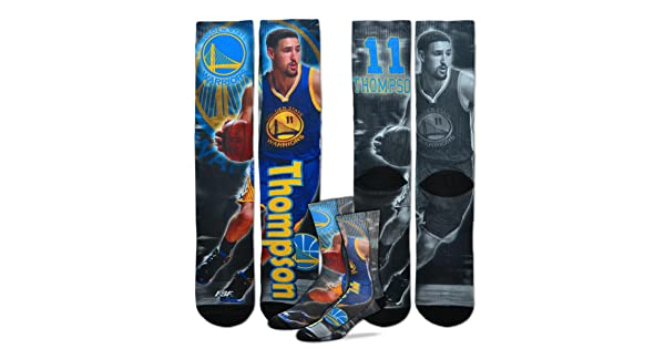For Bare Feet Golden State Warriors Youth Size NBA Drive Crew Kids Socks 1 Pair Klay Thompson #11 4-8 YRS