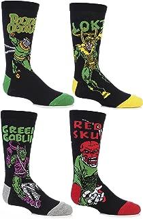 SockShop Kids' 4 Pair Marvel Villains Doctor Octopus, Green Goblin, Red Skull and Loki Cotton Socks