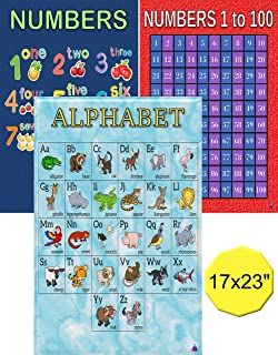 Alphabet, Numbers 1-10, Numbers 1-100 Chart Posters- Laminated 17x23 in. - Large Preschool Classroom Posters for Educational Learning, Toddlers, Kindergarten, Daycare Decorations, Teacher Supplies