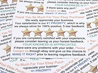 Thank You for Your Purchase and Feedback Request Package Insert Cards for Ebay Business Sellers. Add These Smart Shipping Supplies to Your Personal Ebay Start-Up Kit. (100 ct.)