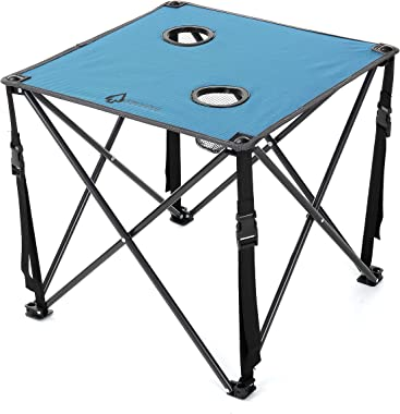ARROWHEAD OUTDOOR Heavy-Duty Portable Camping Folding Table, 2 Cup Holders, Compact, Square, Carrying Case Included, Steel Fr
