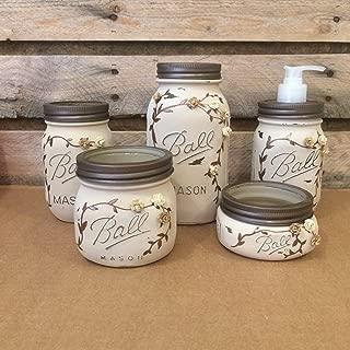 Rustic Ivory and Bronze Mason Jar Bathroom Set or Office Desk Organizer