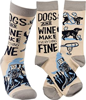 Primitives by Kathy Unisex Socks - Dogs and Wine Make Everything Fine, Grey, One Size