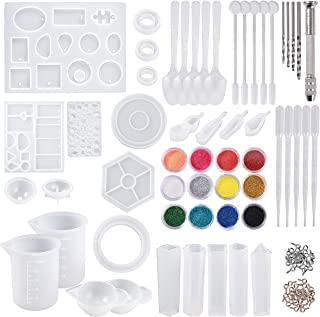 BYMORE 255 PCS Silicone Resin Casting Molds and Tools Set with 2 PCS 100 ml Silicone Measuring Cups 2PCS Mini Silicone Mixing Cups for DIY Jewelry Craft Making