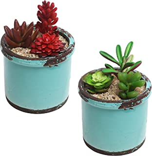 Rustic Style Ceramic Succulent Planters, Small Round Flower Pots, Set of 2, Teal