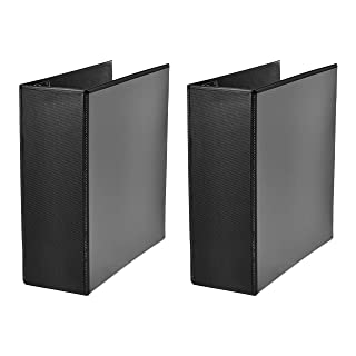 AmazonBasics Heavy-Duty D-Ring Binder - 3 Inch, Black, 2-Pack