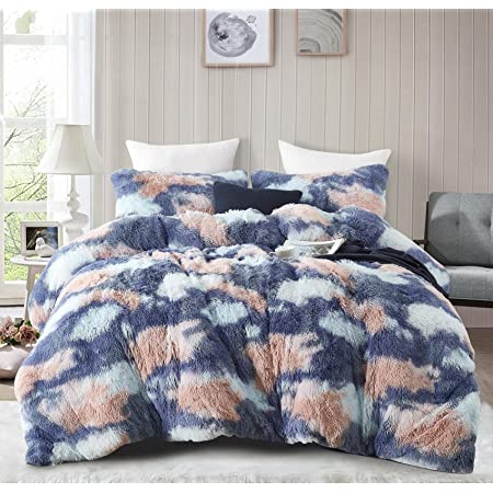 Jillche Bed Fluffy Comforter Queen Set, Warm Cozy Faux Fur Fuzzy Comforter 3PC Set, Adorable Gift Bed in a Bag, All Season Shaggy Plush Bedding Comforters & Sets-1 Stuffed Comforter & 2 Pillow Shams