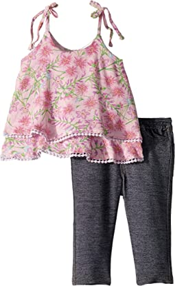 Woven Print Tank Top/Denim Knit Leggings Set (Infant)