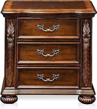 Furniture of America Caldara Traditional Nightstand, Brown Cherry