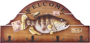 16 Inches Wood Decorative Big Fish Welcome Sign Hanging Plaque with 4 Hangers,for Garden and Wall Decor