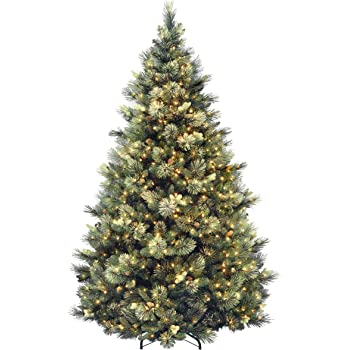 National Tree Company lit Artificial Christmas Tree Includes Pre-strung White Lights and Stand Flocked with Cones Carolina Pine, 7.5 ft, Green