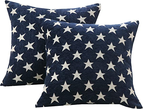 Sunday Praise Set Of 2 Soft Chenille Decorative Throw Pillow Cover Case Geometric Stars Pattern Design Accent Square Cushion Cover Case Sham For Couch Sofa Bed Car 18 X 18 Inch 45x45cm Blue