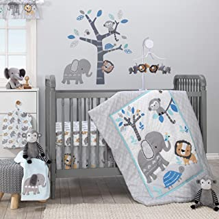 Bedtime Originals Jungle Fun 3-Piece Crib Bedding Set, Blue/Gray
