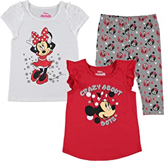 Disney 3-Piece Minnie Mouse Toddler Girls Leggings Pack with T Shirt Scrunchie
