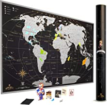 MyMap Scratch Off World Map Wall Poster with US States, 35x25 inches, Includes Pins, Buttons and Scratcher, Glossy Finish, Black with Vibrant Colors, (Silver)