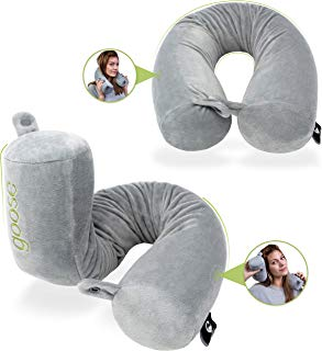 Goose Twist Memory Foam Travel Pillow - Roll Support for Neck, Chin, Lumbar and Leg - Adjustable, Bendable & Flexible Cylindrical Pillow for Airplane, Bus, Train or Home - Washable Soft Cover (Grey)