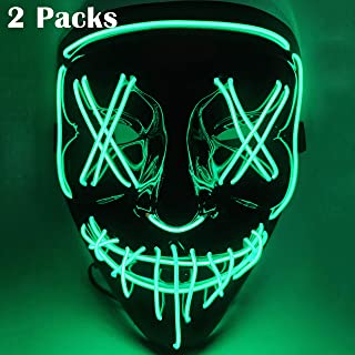 Awaqi 2 Packs EL Wire Mask Led Halloween Horror Light Up Scary Mask - Light Up Scary Mask Halloween Costume Led Costume EL Light Up Face Mask for Festivel Parties Face Costume Mask(Green Light)