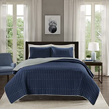 Comfort Spaces Bayley Reversible Embroidery Stitched 3 Piece Quilt Coverlet Bedspread Bedding Set, Full/Queen, Navy/Gray