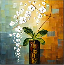 Wieco Art - Beauty of Life 100% Hand-painted Modern Flower Artwork Abstract Floral Oil Paintings on Canvas Wall Art for Ho...