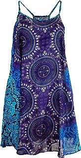 GURU SHOP Dashiki Minikleid, Trägerkleid, Strandkleid, Tank Top, Damen, Blau, Synthetisch, Size:38, Kurze Kleider Alternative Bekleidung