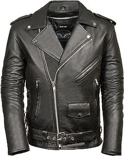 M-BOSS MOTORCYCLE APPAREL-BOS11513T-BLACK-Men's tall classic biker leather jacket.-BLACK-MEDIUM-TALL