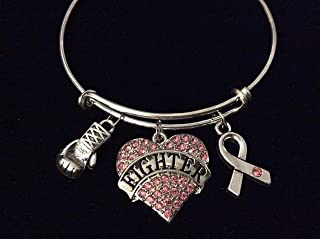 Pink Breast Cancer Fighter Awareness Ribbon Adjustable Bracelet Expandable Silver Charm Bangle Inspirational Gift Boxing Gloves Crystal Heart Personalized Customization Options Available