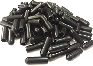 Jocon SF9000 PVC Flexible Vinyl Round End Caps Shelf Organizer Tip Caps Wire Thread Protector Cover (Inner Dia 5mm, Black)