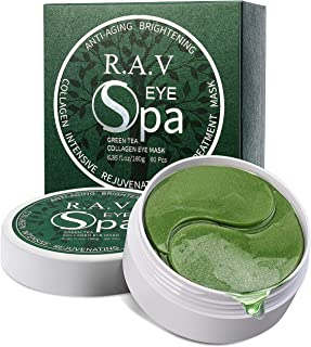 R.A.V Under Eye Collagen Patches Green Tea Eye Masks with Hyaluronic Acid, Vitamins, Eye Gel Treatment Masks Anti-Aging Eye Pad for Eye Bag, Dark Circles, Puffiness, Wrinkles, Natural Extracts
