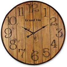 "Young's 24"" x 2"" x 24"" Wooden Barrel Wall Clock with Hands"