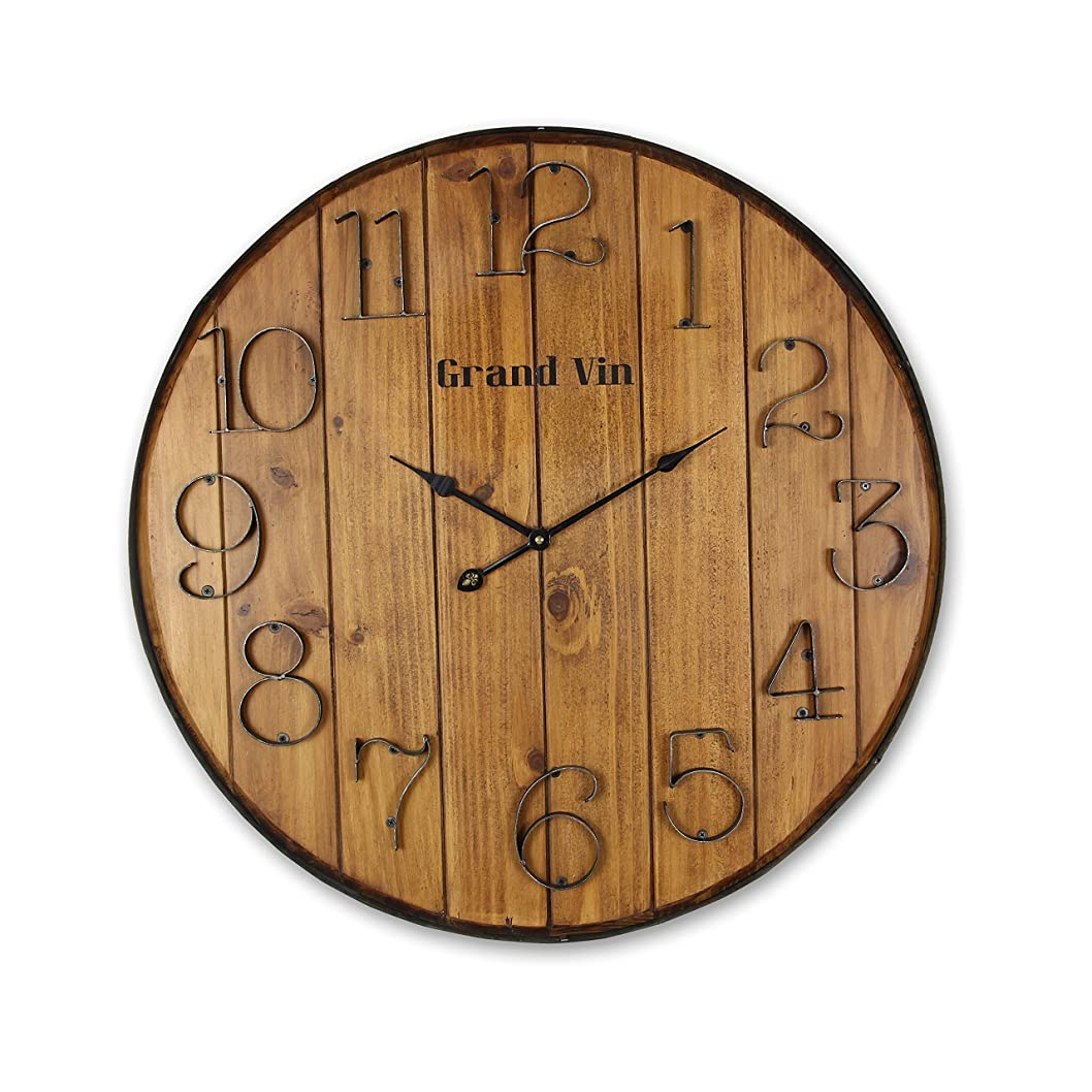 告白する子供達シートYoung's 24インチ x 2インチ x 24インチ 木製バレル壁掛け時計 手付き