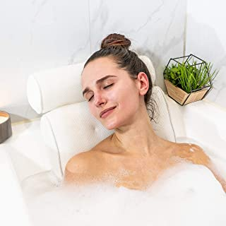 Bath Pillows for Tub Neck Support: White Waterproof Bathtub Pillow Rest for Head, Neck and Back with 4 Suction Cups. Bubble Bath Tub Accessories. Relaxation Gifts for a Luxury Home Spa Experience