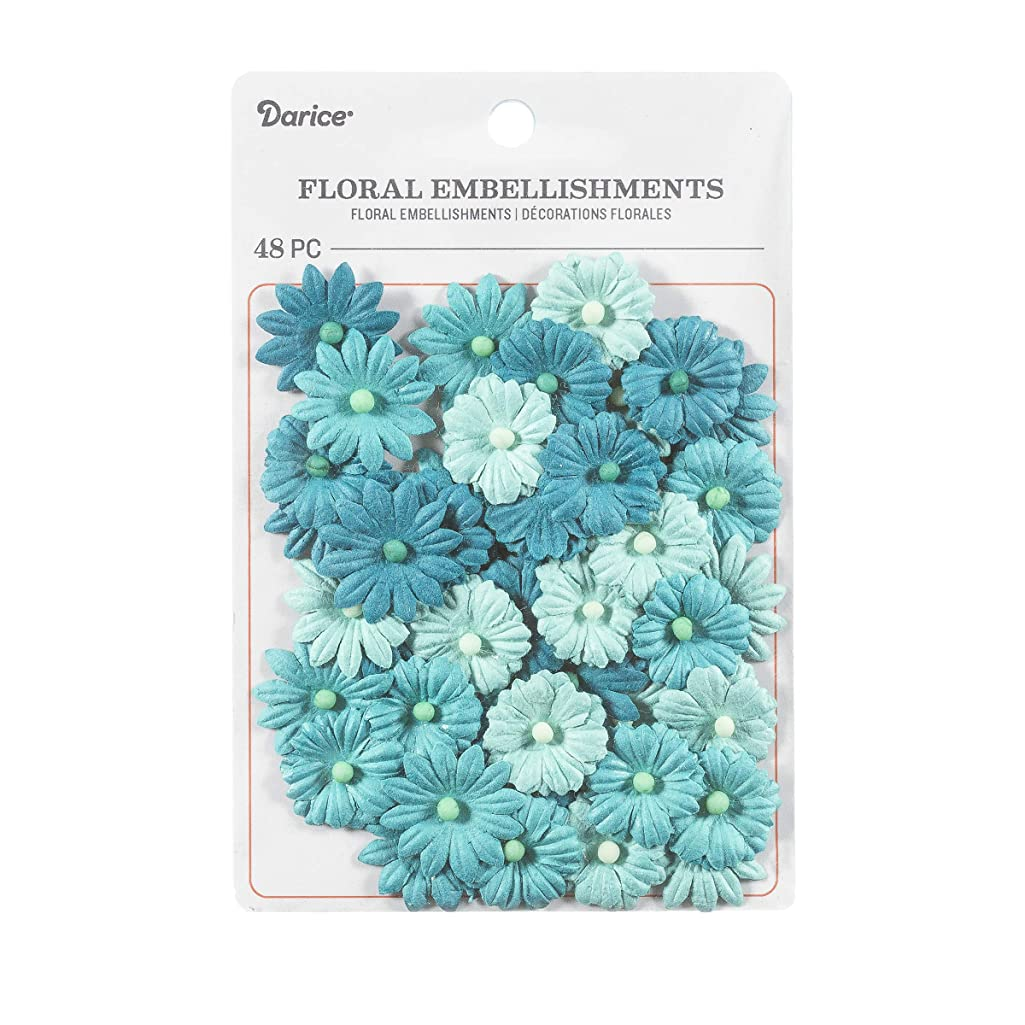 Darice 30062055 Button Daisy Floral Embellishment: Blue Tones, 0.75in, 48 Pack