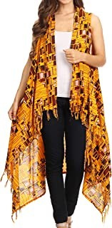 Hatice Light Colorful Poncho Wrap Cardigan Top with African Ankara Print