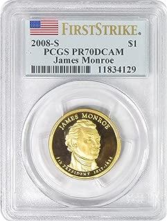 2008 S James Monroe Presidential Gold Dollar First Strike $1 PR70DCAM PCGS