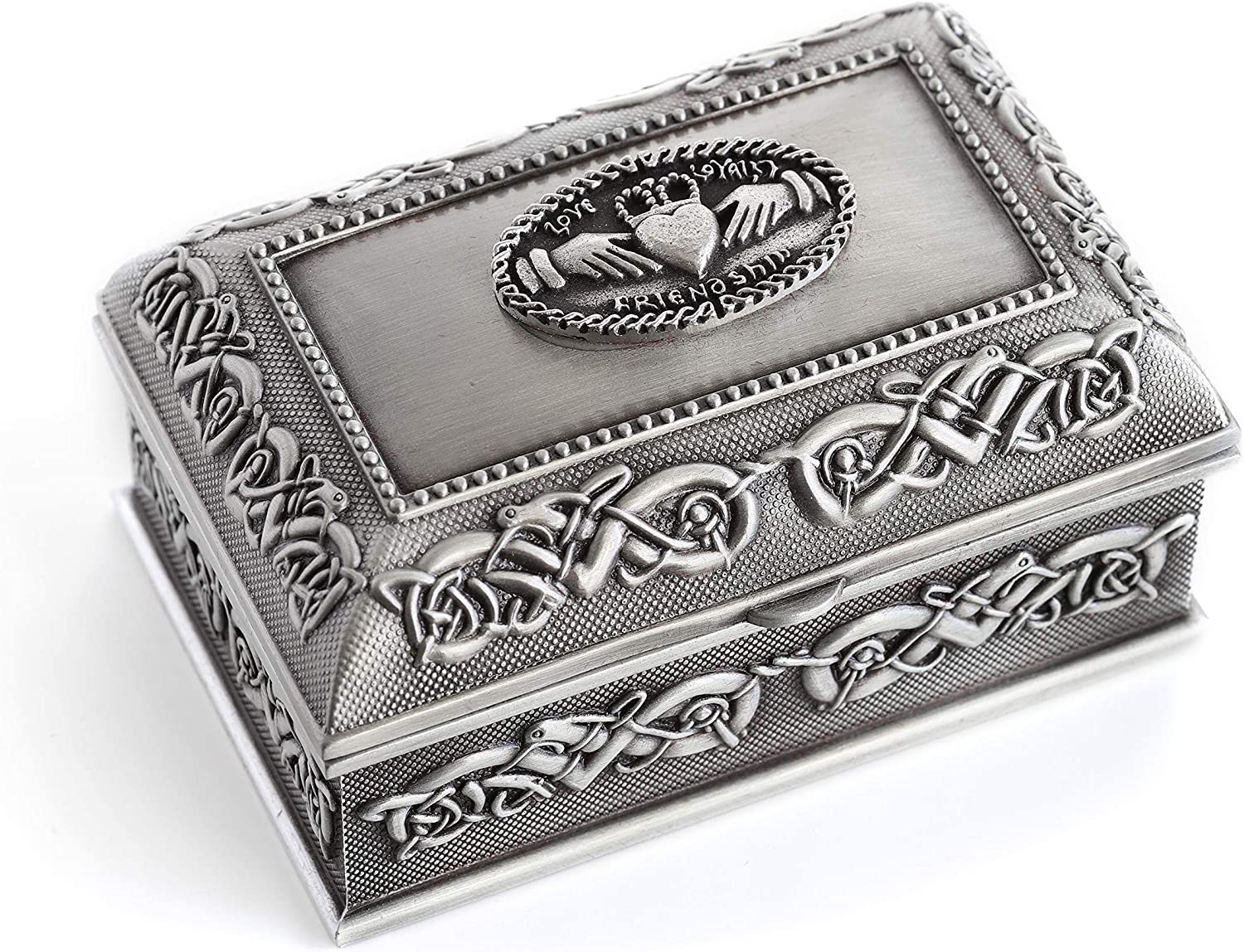 Biddy Murphy Claddagh Jewelry Box Square Small 3 1 2  x 2 1 4  x 2  Pewter Made in Ireland