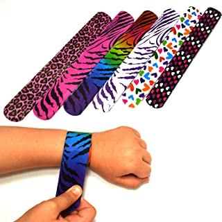 Dazzling Toys 100 Mega Pack Slap Bracelets | Slap Bands Birthday Party Supplies Favors with Hearts & Animal Print | One Size Fits All | for Kids, Boys, and Girls