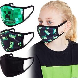 Minecraft Face Mask for Kids, Mondkapjes Wasbaar, Pack van 3 Stuks Mondkap voor Children, Kinder Masker met Creeper, Wasba...