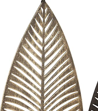 """Wisiron Metal Leaves Wall Decor Wall Sculpture Wall Art Decoration with Frame Large 37""""x20"""" Hanging for Patio Porch B"""