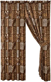 4 Piece Jungle Safari Animal Print Window Drapes Curtain Set, Chocolate Brown Leopard Zebra Giraffe Jungle Forest Theme Ro...